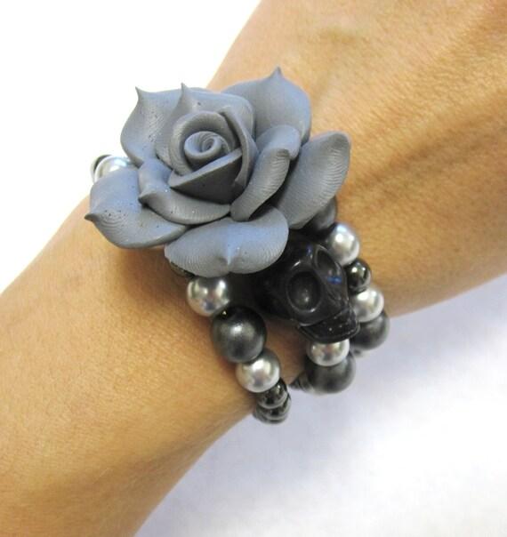 Sugar Skull Bracelet Day Of The Dead Jewelry Gray Silver Black Skull