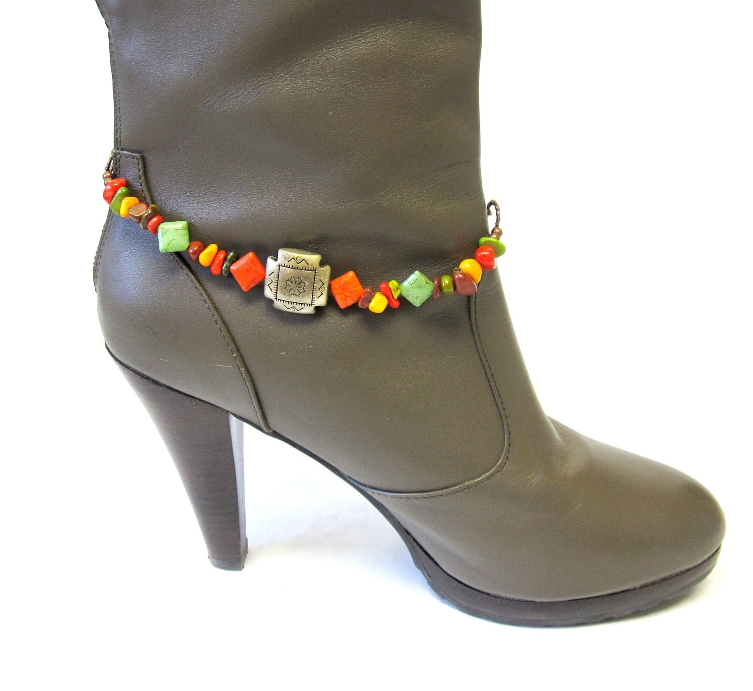 boot bracelet bling western jewelry chunky concho green