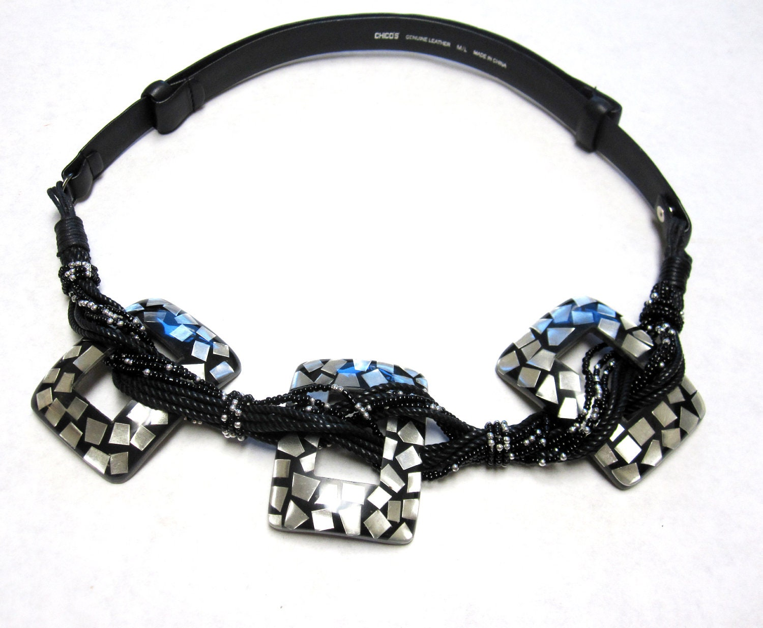 black beaded leather belt square of pearl inlay