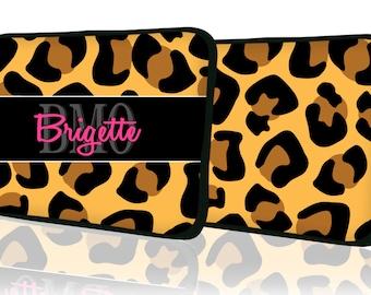 "Custom LAPTOP MACBOOK Sleeve Leopard Cheetah Monogram 11"" 12"" 13"" 14"" 15"" - Personalized Monogram - Design Printed on Front AND Back"