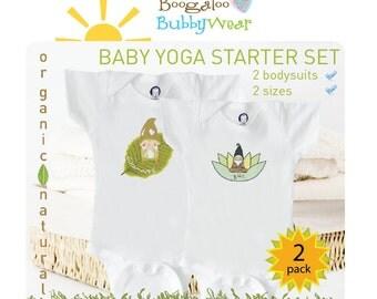 Organic baby set, yoga gnome onesies, baby boy or girl, baby shower
