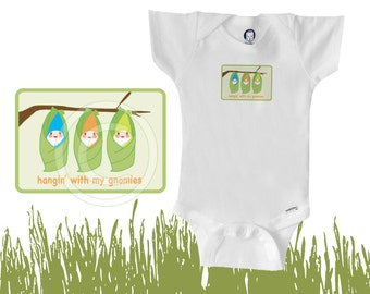 Organic onesie / bodysuit, hanging with my gnomies, baby boy or baby girl, cute