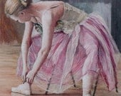 Ballerina tying pointe shoes signed limited edition giclee print. Fits IKEA frames
