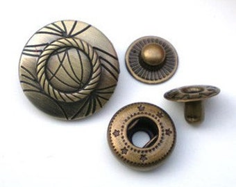 10sets Beautiful high-quality antique bronze Snap button(requries 633 tool)