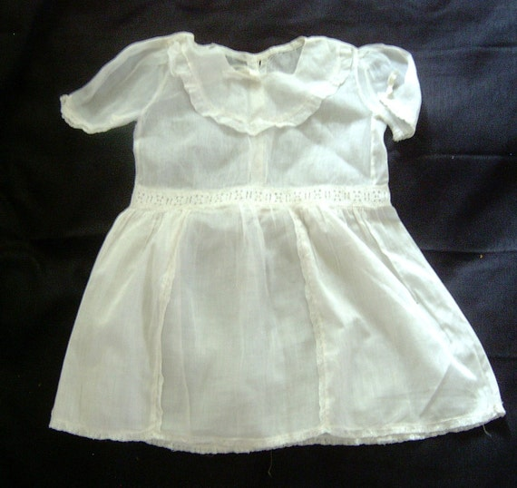 Pretty Pristine Little Girl's White Organza and Batiste Vintage 1920s Dress Eyelet Trim