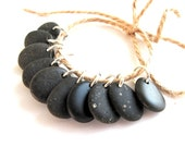 Beach Pebble Jewelry Supplies - BLACK BLACK by StoneAlone - River Rocks, Beach Stone Beads with Open Jump Rings