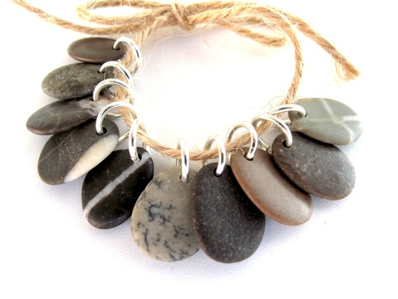 Beach Stone Jewelry Charm Beads - EARTHY MIX by StoneAlone - Natural Stone Jewelry Supplies, Beach Pebble Beads with Open Jump Rings