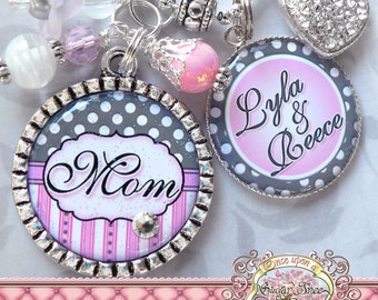 Mother's Necklace, Double Pendant Bezel NECKLACE (or Keychain), Polka Dots, Children's Names, Mother's Day Gift, Grandma, Nana, Mimi