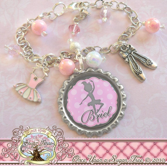 Childrens Charm Bracelet: Personalized Children's BALLET Charm By Onceuponasugartree