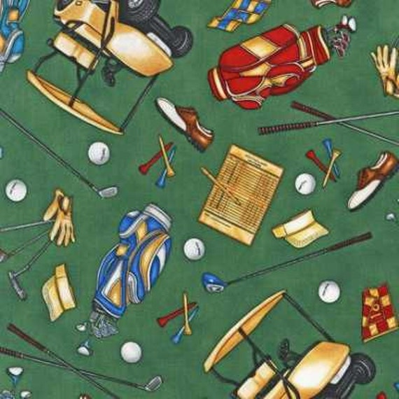 One Yard Cotton Novelty Fabric, Sports Club, Golfing, by Robert Kaufman Fabrics