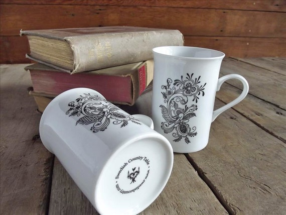 Porcelain Coffee Mugs with Rosemaling Design Set of Two
