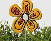 Abstract Flower sculpture -  home decor - garden sculpture - ceramic and metal - garden art - plant stake - daisy yellow