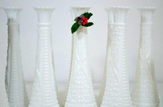 Vintage Milk Glass Vases: Set of 12 ALL the Same Design Pattern ALL the Same Size Do It Yourself Winter/Spring Wedding Shower
