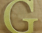 "8"" retro green G wooden letter nursery or office wall decor"