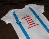 "First Birthday Shirt Cat in the Hat inspired Baby Boy ""1"" Red and White Striped Light Blue Teal Dr. Seuss inspired"