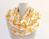 Bird Pattern Scarf Cotton Scarf  Women Scarf Long Lightweight Soft Women Accessories Yellow White Pelikan