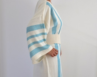 Kimono Robe Cotton Bath Robe Turkish Bath Towel Peshtemal Caftan Eco Friendly Extra Soft Blue Teal Striped