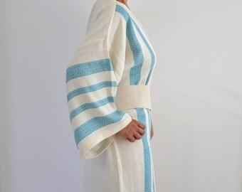 Kimono Robe Cotton Bath Robe Turkish Bath Towel Peshtemal Caftan Eco Friendly Extra Soft Blue Teal Striped