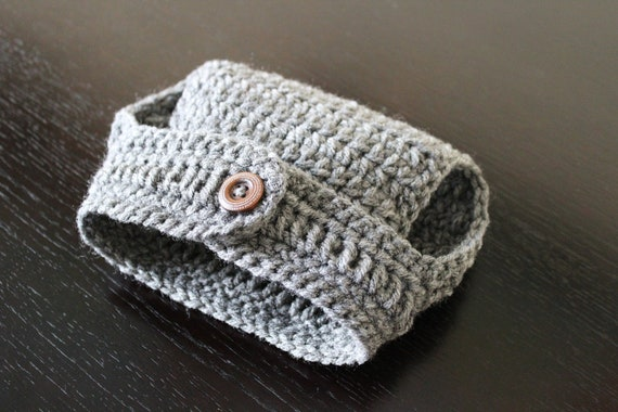 Crochet Diaper Cover with Button/ Newborn Photography Prop/ Grey/ 0-3 months