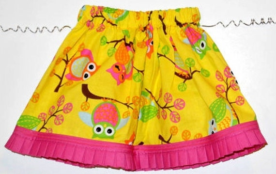 Baby Toddler Girl Skirt - Baby Skirt with Elegant Owl Fabric  - Newborn to Size 7 Girls