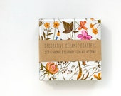 Ceramic coasters Small Autumn Flowers, set of 4