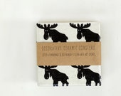 Christmas Coasters Scandinavian Moose Black and White, set of 4