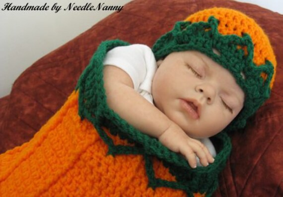Baby Cocoon and Hat, Pumpkin Orange and Green Snuggle Sack, Cuddle Bag, Blanket, Costume, Children Clothing Baby Infant Clothes