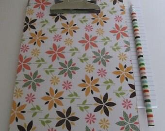SALE, SALE, SALE!  Small Decorative Clipboard--Flower Petals--Orange and White Damask