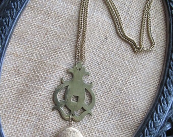 SALE, SALE, SALE!  Vintage Flourish Hardware Necklace with Gold Locket. As featured in Country Living Magazine.