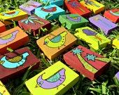 Fun Wood Art Blocks trees birds