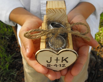 The Original Design Country Chic Wedding Ring Bearer Wooden Truck with Burlap Ring Pillow