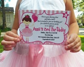 Ballerina Princess Birthday Printable Invitation - You pick hair style/color and skin tone