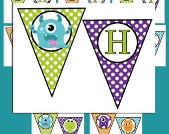 Monster Birthday Banner Printable -  Instant Download - My Cute Lil' Monster Collection