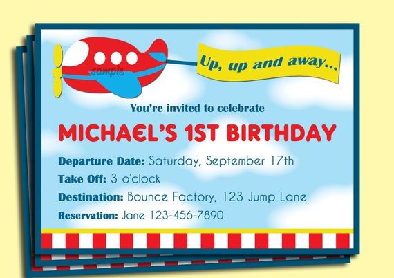 Airplane birthday invitation printable or printed with free shipping il570xn filmwisefo