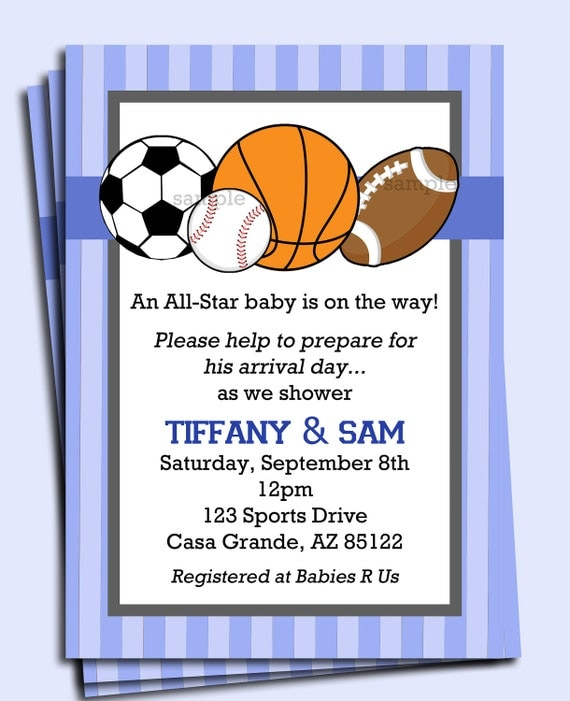 all star sports invitation printable or printed with free, Baby shower invitations