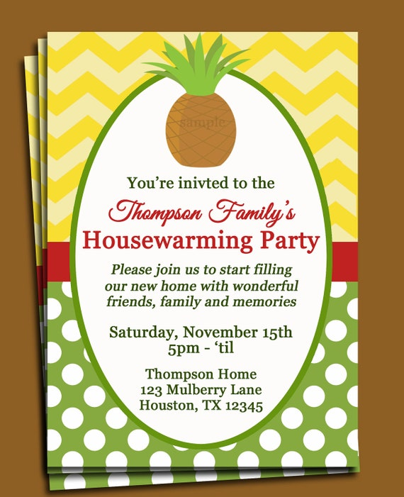 Pineapple Invitation Printable or Printed with FREE SHIPPING – Free Housewarming Party Invitations