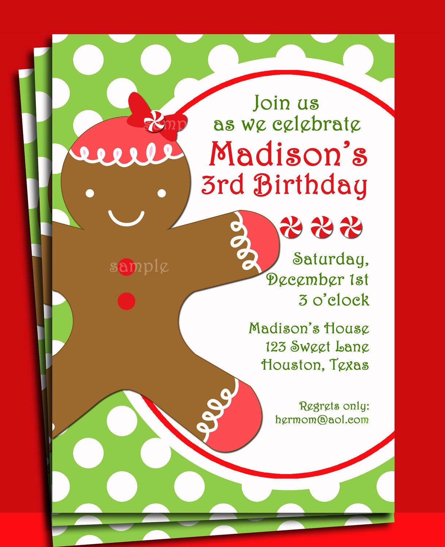 Christmas Party Invitation Quotes: Christmas Gingerbread Girl Invitation Printable Christmas