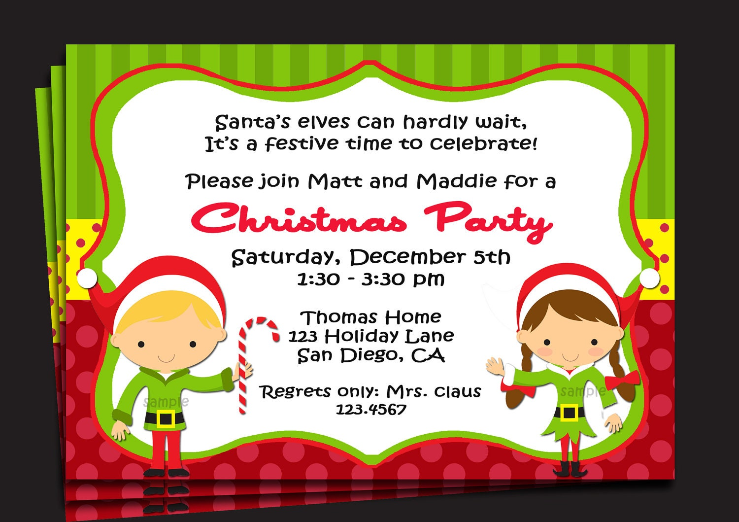 Christmas Party Invitation Printable or Printed with FREE