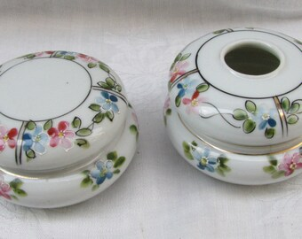 Antique Porcelain Dresser Set/ Hand Painted/ Hair Receiver Powder Puff Jar / Japan