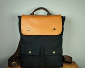 City Backpack in Black Canvas/ Backpack/ Women/ Laptop Bag/ Tan Leather/ Handmade in New York/ Messenger