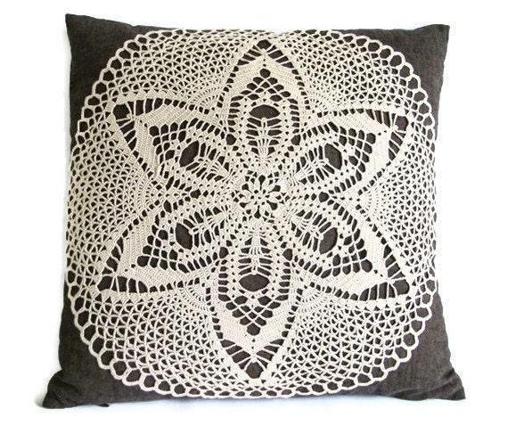 Vintage throw pillow,Handmade Brown linen/cotton pillow cover, Crochet Appliqued pillowcase