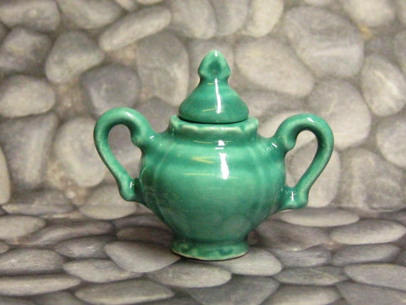 dollhouse miniature vase deep jade 2 handled with removable lid use alone or with your favorite florals