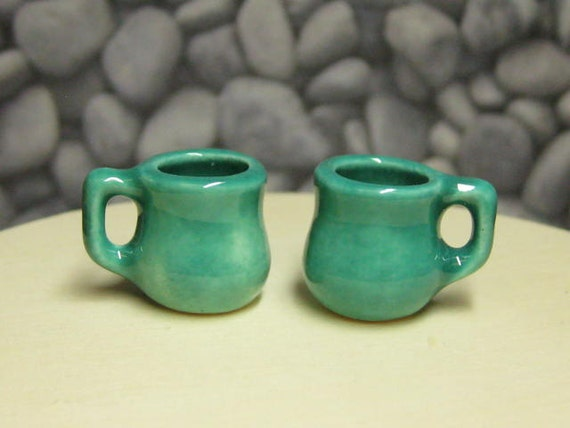 NOW RESERVED jade miniature tea cups or coffee mugs 2pcs ceramic fashion dolls miniature playscale for Barbie Bratz Monster High Pullip etc