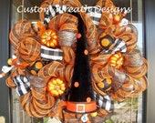 Halloween Witch Hat Deco Mesh Wreath