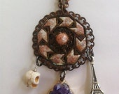 Antique Copper Chevron Necklace with Day of the Dead Skull, Eiffel Tower and Beautiful Amethyst Druzy