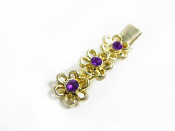 Vintage Hair Clip with Purple Rhinestones - Peigne à Cheveux.