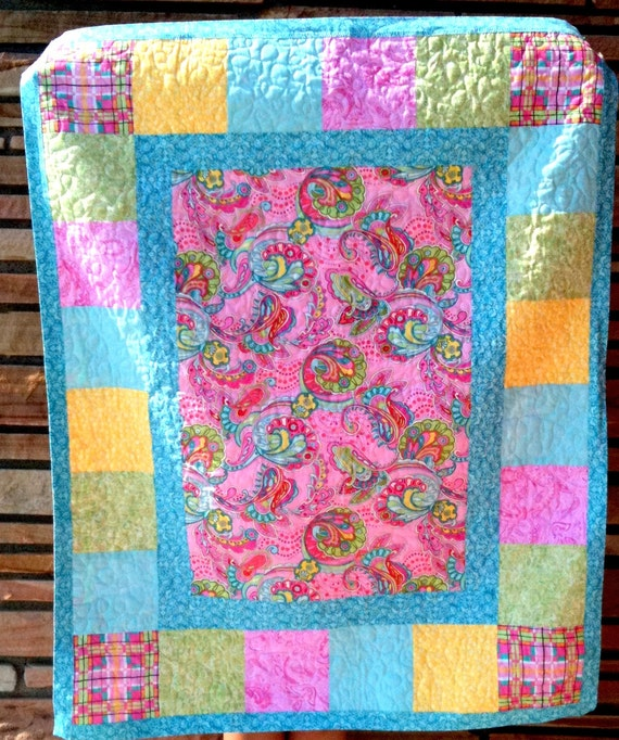 Lap Quilt  Patchwork Throw Comforter Gypsy Print Pink Blue Green Yellow Baby Toddler Teens