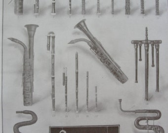 Musical instruments - Original - vintage Encyclopedia page