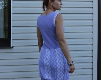 Lilac dress , jersey dress, lilac and white dress, summer dress, handmade dress, repurposed, eco friendly