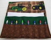 Crayon roll up John Deere tractor print fabric crayon holder crayon caddy crayon wallet